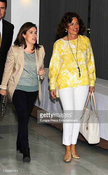 Ana Botella and Soraya Saezn de Santamaria attend the presss conference by Spain's former prime minister Jose Maria Aznar at Club Siglo XXI on June...