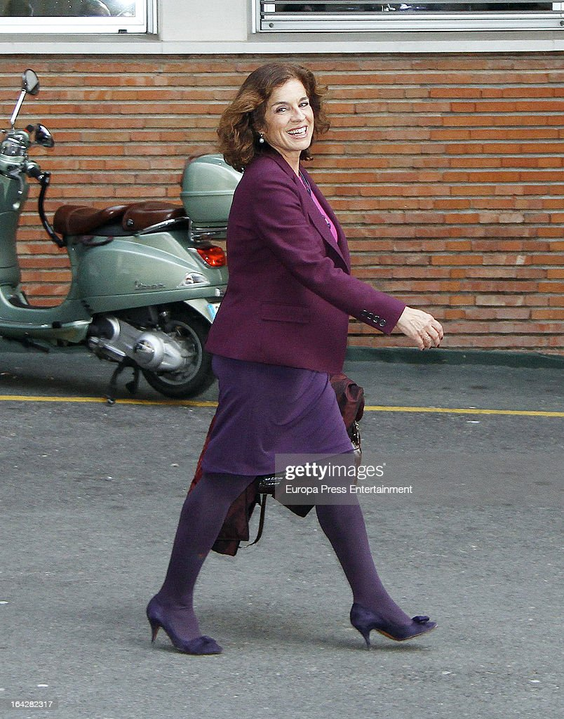 Ana Botella visits Jose Maria Aznar Jr and Monica Abascal at hospital on March 12 2013 in Madrid Spain