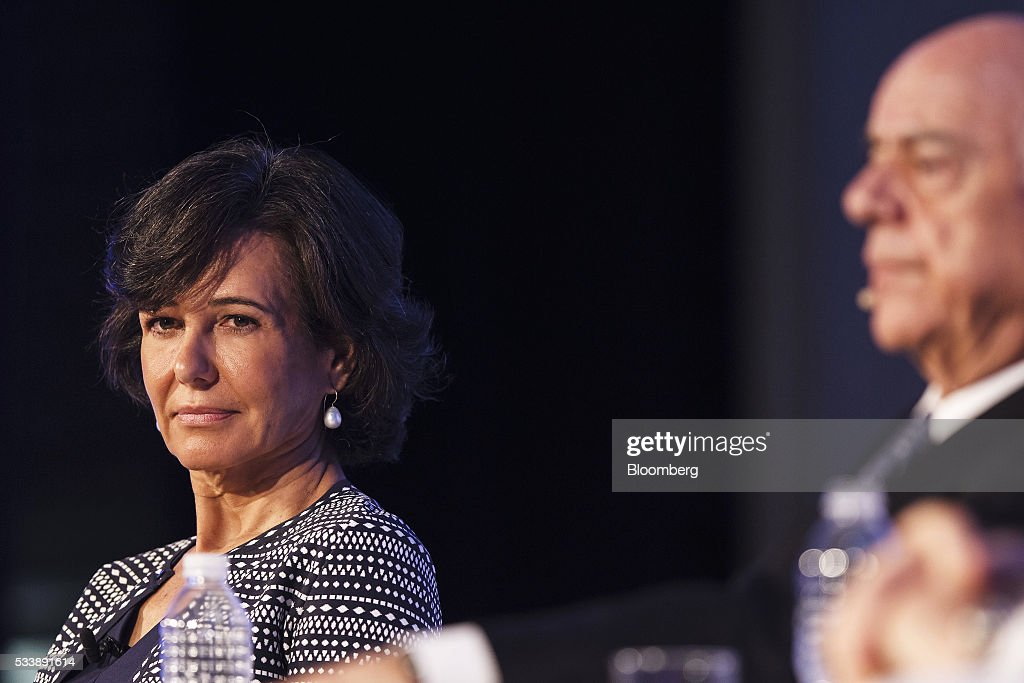 Ana Botin, chairman of Banco Santander SA, left, and <a gi-track='captionPersonalityLinkClicked' href=/galleries/search?phrase=Francisco+Gonzalez+-+Spanish+banker&family=editorial&specificpeople=8284524 ng-click='$event.stopPropagation()'>Francisco Gonzalez</a>, chairman of Banco Bilbao Vizcaya Argentaria SA, attend a panel session at the Institute of International Finance's Spring meeting in Madrid, Spain, on Tuesday, May 24, 2016. Attendees are hearing from experts from across the industry on the global and regional economic outlook, the global regulatory agenda, and the political landscape in Europe and the U.S. Photographer: Angel Navarrete/Bloomberg via Getty Images
