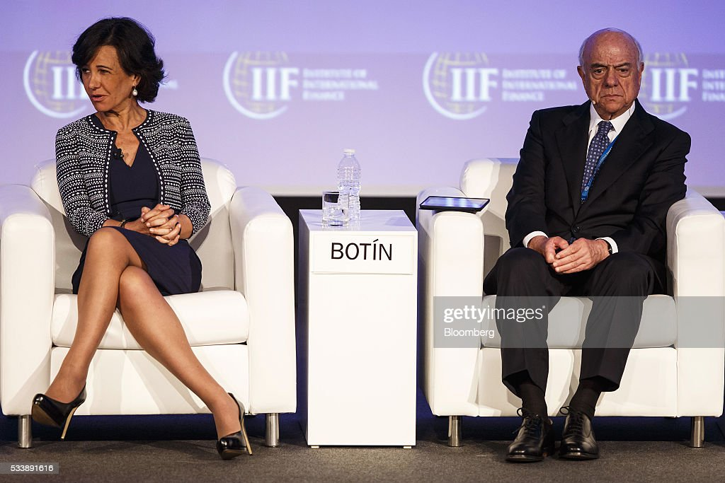 Ana Botin, chairman of Banco Santander SA, left, and Francisco Gonzalez, chairman of Banco Bilbao Vizcaya Argentaria SA, attend a panel session at the Institute of International Finance's Spring meeting in Madrid, Spain, on Tuesday, May 24, 2016. Attendees are hearing from experts from across the industry on the global and regional economic outlook, the global regulatory agenda, and the political landscape in Europe and the U.S. Photographer: Angel Navarrete/Bloomberg via Getty Images