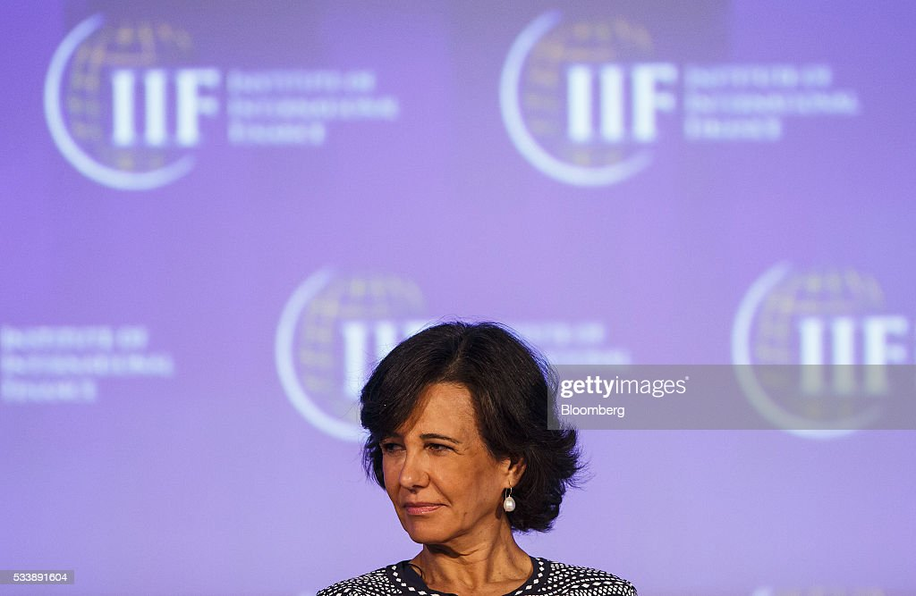 Ana Botin, chairman of Banco Santander SA, looks on during a panel session at the Institute of International Finance's Spring meeting in Madrid, Spain, on Tuesday, May 24, 2016. Attendees are hearing from experts from across the industry on the global and regional economic outlook, the global regulatory agenda, and the political landscape in Europe and the U.S. Photographer: Angel Navarrete/Bloomberg via Getty Images