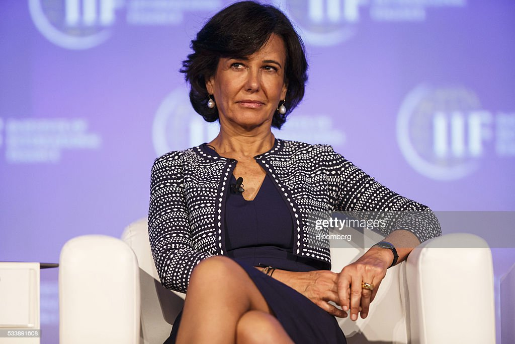 Ana Botin, chairman of Banco Santander SA, pauses while attending a panel session at the Institute of International Finance's Spring meeting in Madrid, Spain, on Tuesday, May 24, 2016. Attendees are hearing from experts from across the industry on the global and regional economic outlook, the global regulatory agenda, and the political landscape in Europe and the U.S. Photographer: Angel Navarrete/Bloomberg via Getty Images
