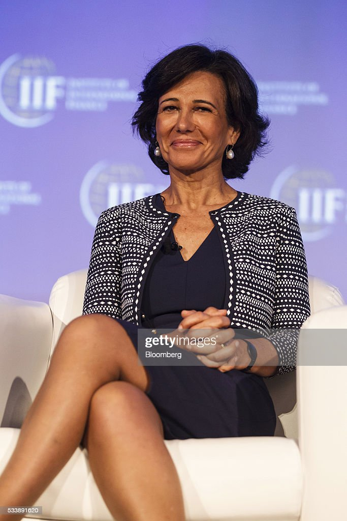 Ana Botin, chairman of Banco Santander SA, reacts during a panel session at the Institute of International Finance's Spring meeting in Madrid, Spain, on Tuesday, May 24, 2016. Attendees are hearing from experts from across the industry on the global and regional economic outlook, the global regulatory agenda, and the political landscape in Europe and the U.S. Photographer: Angel Navarrete/Bloomberg via Getty Images
