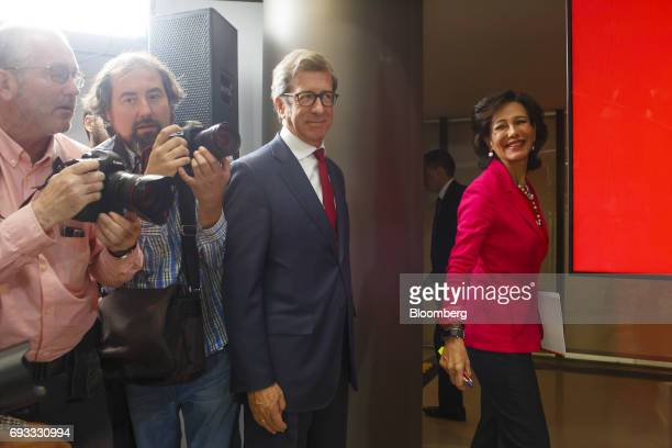 Ana Botin chairman of Banco Santander SA right arrives for a news conference in Madrid Spain on Wednesday June 7 2017 Santander agreed to take...