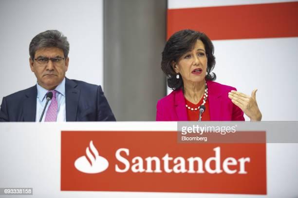 Ana Botin chairman of Banco Santander SA right speaks as Jose Antonio Alvarez chief executive officer of Banco Santander SA looks on during a news...