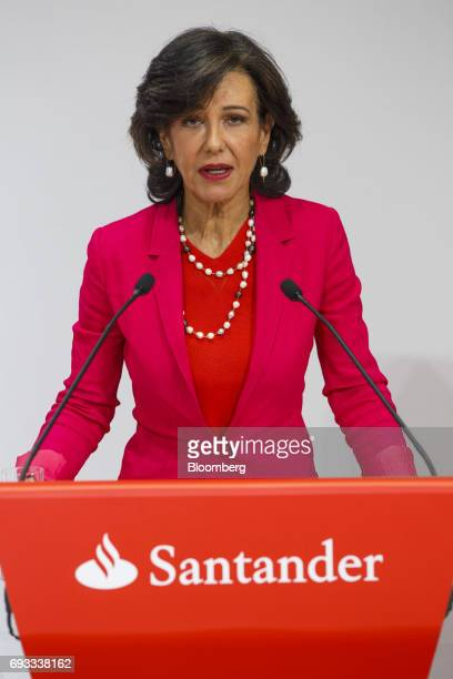 Ana Botin chairman of Banco Santander SA speaks during a news conference in Madrid Spain on Wednesday June 7 2017 Santander agreed to take over Banco...