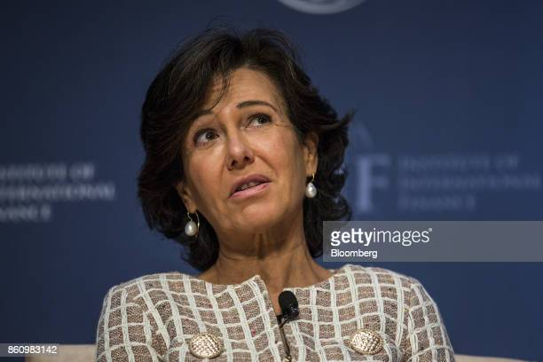 Ana Botin chairman of Banco Santander SA speaks during the Institute of International Finance annual membership meeting in Washington DC US on Friday...