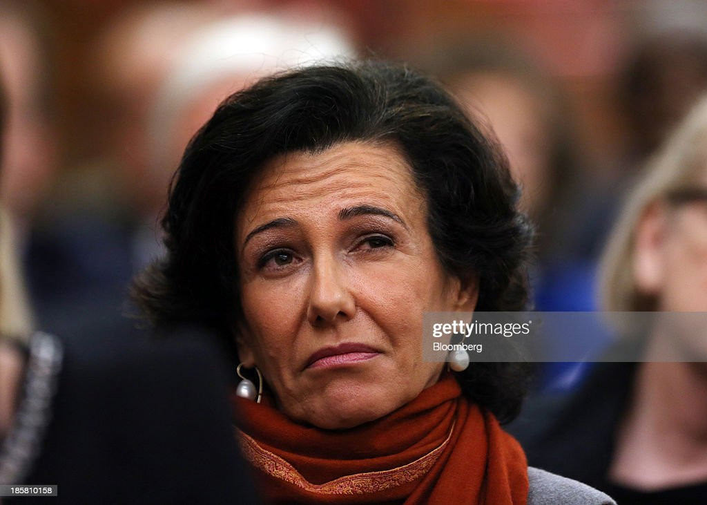 Ana Botin, chief executive officer of Santander U.K. Plc., listens to a speaker during an event to mark the 125th anniversary of the Financial Times in London, U.K., on Thursday, Oct. 24, 2013. U.K. economic growth accelerated to its fastest pace in more than three years in the third quarter as the recovery continued across all main industries. Photographer: Chris Ratcliffe/Bloomberg via Getty Images