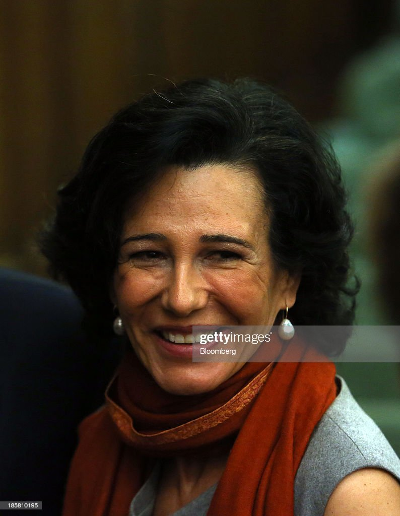 Ana Botin, chief executive officer of Santander U.K. Plc., reacts as she attends an event to mark the 125th anniversary of the Financial Times in London, U.K., on Thursday, Oct. 24, 2013. U.K. economic growth accelerated to its fastest pace in more than three years in the third quarter as the recovery continued across all main industries. Photographer: Chris Ratcliffe/Bloomberg via Getty Images