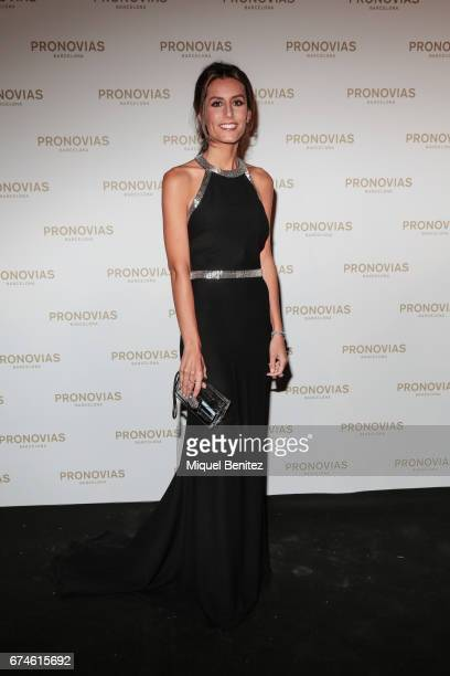 Ana Boyer attends the Pronovias Show during Barcelona Bridal Fashion Week 2017 held at the Museu Nacional d'Art de Catalunya on April 28 2017 in...