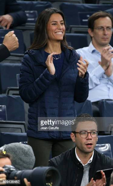 Ana Boyer celebrates the victory of fiance Fernando Verdasco of Spain against Dominic Thiem of Austria in 2 sets on day 4 of the Rolex Paris Masters...