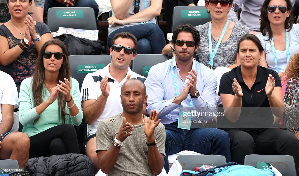 Ana Boyer Preysler, girlfriend of Fernando Verdasco, his agent David Tosa Ros (right) and Conchita Martinez support him during his match against Kei Nishikori of Japan on day 6 of the 2016 French Open held at Roland-Garros stadium on May 27, 2016 in Paris, France.