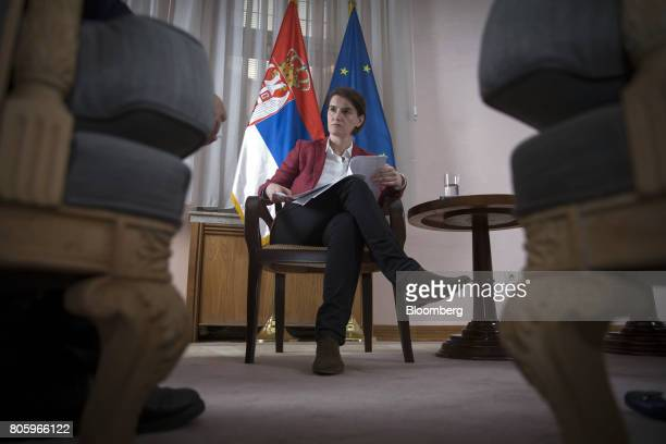 Ana Brnabic Serbia's prime minister pauses during an interview in Belgrade Serbia on Friday June 30 2017 Serbia is focused on wrapping up its IMF...
