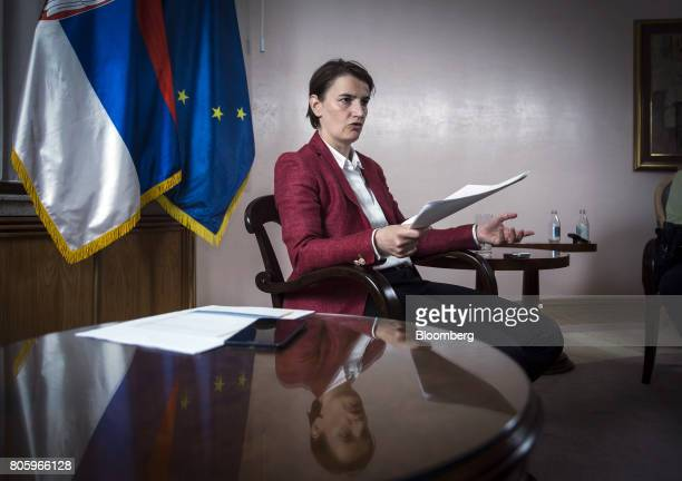Ana Brnabic Serbia's prime minister speaks during an interview in Belgrade Serbia on Friday June 30 2017 Serbia is focused on wrapping up its IMF...