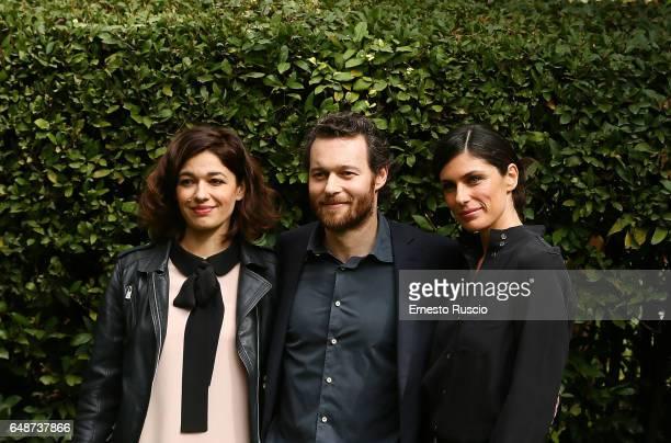 Ana Caterina Morariu Giorgio Marchesi and Anna Valle attend a photocall for 'Le Sorelle' at Rai Viale Mazzini on March 6 2017 in Rome Italy