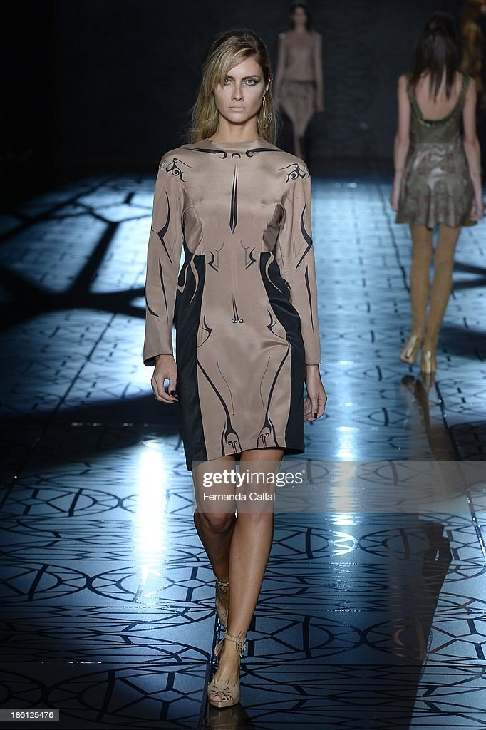 <a gi-track='captionPersonalityLinkClicked' href=/galleries/search?phrase=Ana+Claudia+Michels&family=editorial&specificpeople=206194 ng-click='$event.stopPropagation()'>Ana Claudia Michels</a> walks the runway during Animale show at Sao Paulo Fashion Week Winter 2014 on October 28, 2013 in Sao Paulo, Brazil.