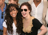Ana Claudia Talancon and Ashley Johnson during 2006 Cannes Film Festival 'Fast Food Nation' Cocktail Party at American Pavillion in Cannes France