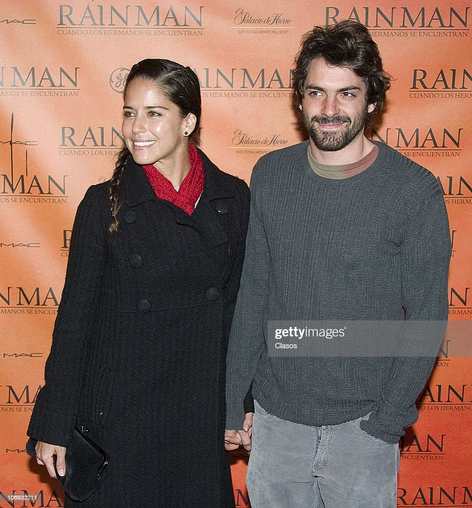 Ana Claudia Talancon (L) and Jose Maria de Tavira pose for a photo at the red carpet prior to a presentation of the theater play Rain Man at Diego Rivera theater on November 16, 2010 in Mexico City, Mexico.
