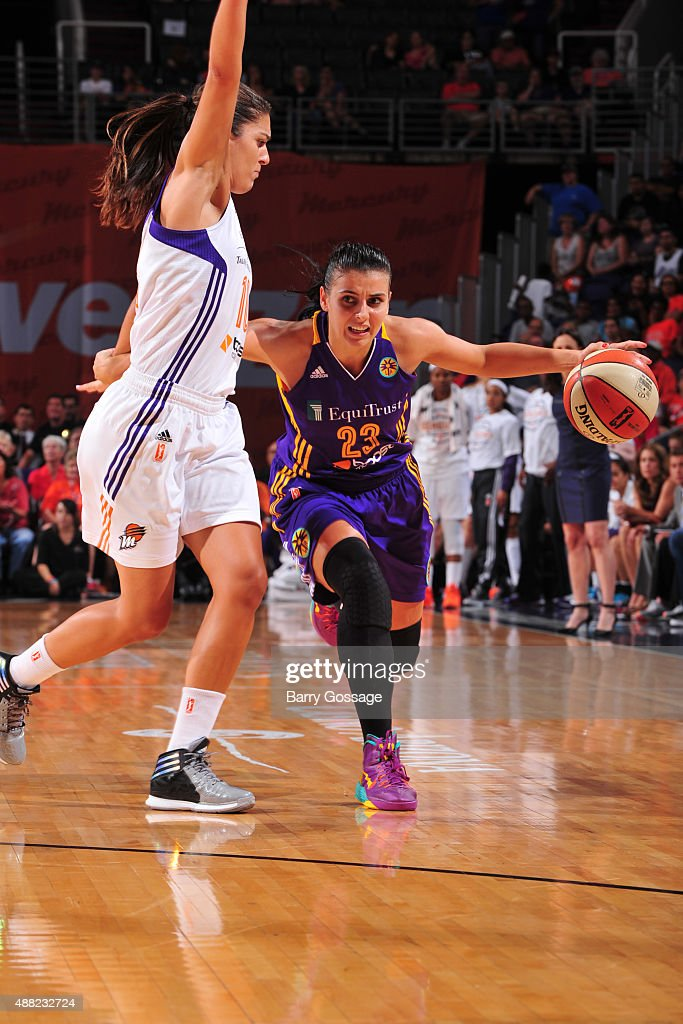 Ana Dabovic #23 of the Los Angeles Sparks handles the ball against the Phoenix Mercury on September 11, 2015 at the US Airways Center in Phoenix, Arizona.