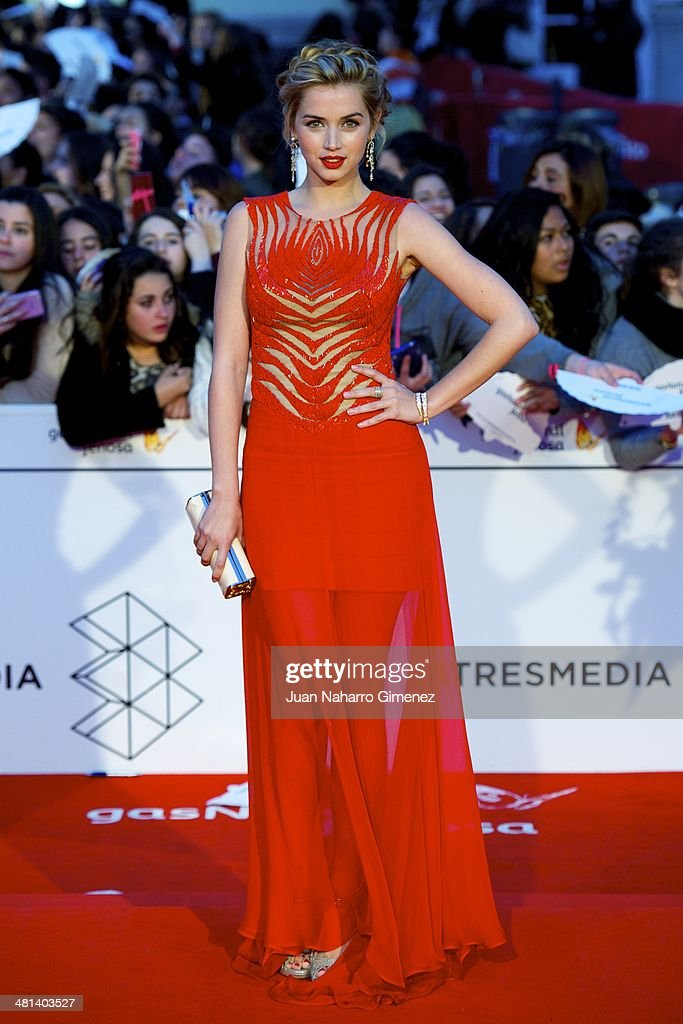 <a gi-track='captionPersonalityLinkClicked' href=/galleries/search?phrase=Ana+de+Armas&family=editorial&specificpeople=4708286 ng-click='$event.stopPropagation()'>Ana de Armas</a> attends the 17th Malaga Film Festival 2014 closing ceremony at the Cervantes Theater on March 29, 2014 in Malaga, Spain.
