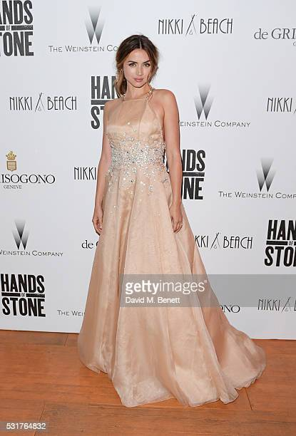 Ana de Armas attends The Weinstein Company's HANDS OF STONE After Party In Partnership With De Grisogono At Nikki Beach Carlton Beach Club on May 16...
