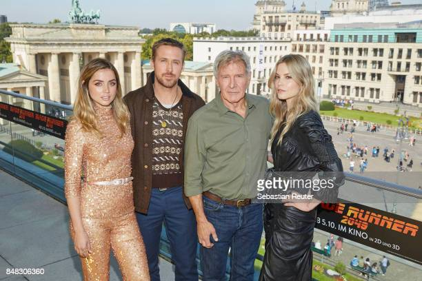 Ana de Armas Ryan Gosling Harrison Ford and Sylvia Hoeks pose for the 'Blade Runner 2049' photo call at Akademie der Kuenste on September 17 2017 in...