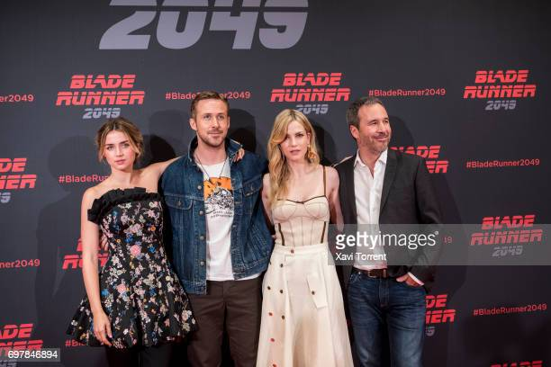 Ana de Armas Ryan Gosling Sylvia Hawks and Denis Villeneuve attend 'Blade Runner 2049' photocall at Arts Hotel on June 19 2017 in Barcelona Spain