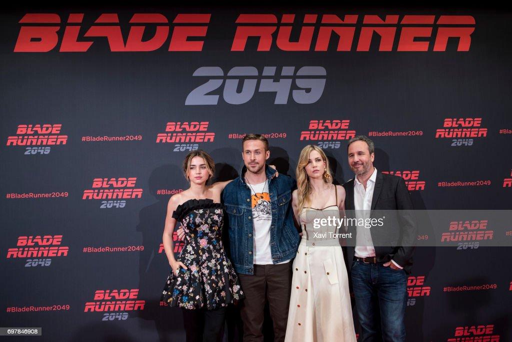 Ana de Armas, Ryan Gosling, Sylvia Hoeks and Denis Villeneuve attend 'Blade Runner 2049' photocall at Arts Hotel on June 19, 2017 in Barcelona, Spain.