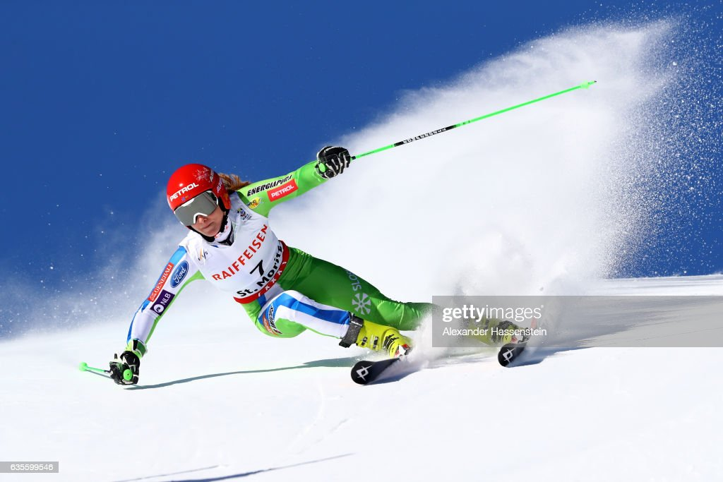 Ana Drev of Slovenia competes in the Women's Giant Slalom during the FIS Alpine World Ski Championships on February 16, 2017 in St Moritz, Switzerland.
