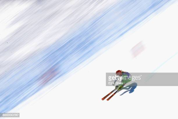 Ana Drev of Slovenia skis her second run in the ladies' giant slalom during the 2017 Audi FIS Ski World Cup Finals at Aspen Mountain on March 19 2017...
