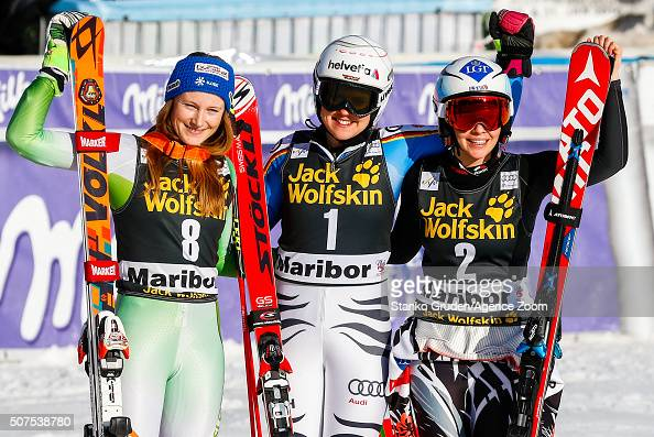 Ana Drev of Slovenia takes 2nd place Viktoria Rebensburg of Germany takes 1st placeTina Weirather of Liechtenstein takes 3rd place during the Audi...
