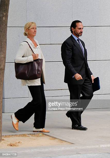 Ana Duato and her lawyer Enrique Molina attend the National Court to be questioned over a tax fraud on June 15 2016 in Madrid Spain