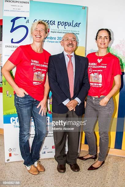Ana Duato Juan Casado Flores and Carolina Herrera during the presentation of the Charity Running Race 'Corre Por El Nino' on October 28 2015 in...