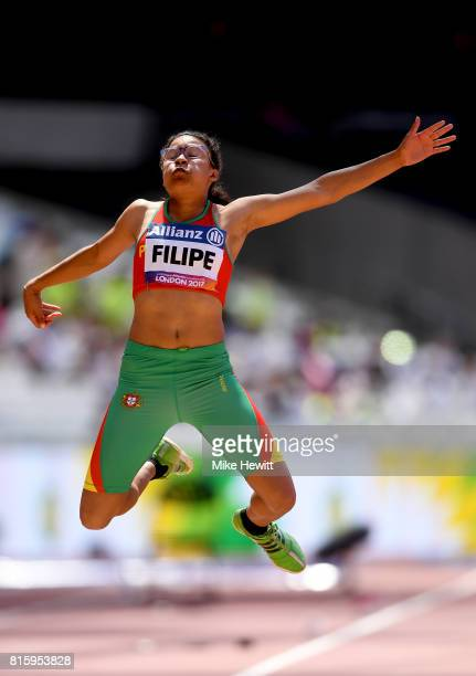 Ana Filipe of Portugal competes in the Women's Long Jump T20 Final during day four of the IPC World ParaAthletics Championships 2017 at the London...