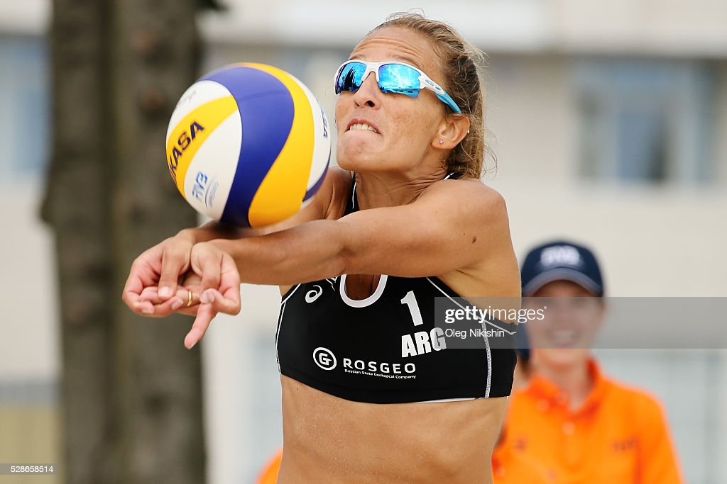 Ana Gallay of Argentina receives a ball during day 4 of FIVB Sochi Open presented by VTB on May 6, 2016 in Sochi, Russia.