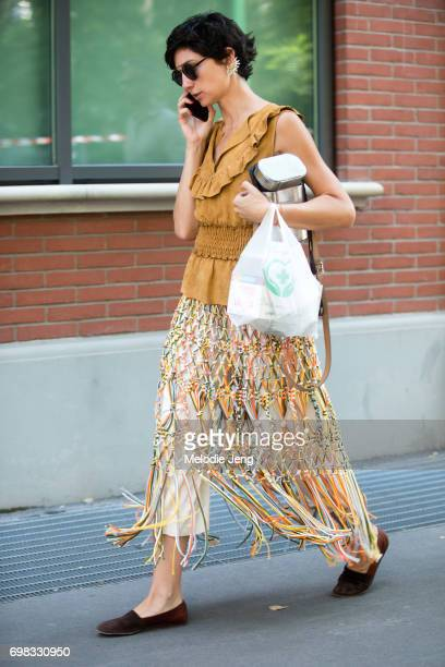 Ana Gimeno Brugada outside the Fendi show during Milan Men's Fashion Week Spring/Summer 2018 on June 19 2017 in Milan Italy