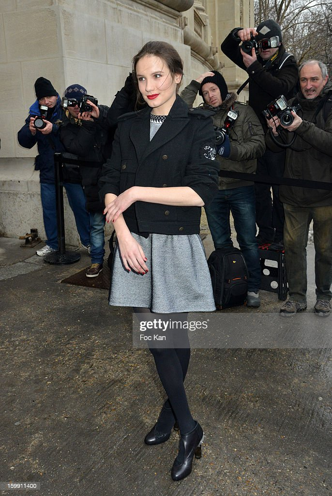 Ana Girardot attends the Chanel Spring/Summer 2013 Haute-Couture show as part of Paris Fashion Week at Grand Palais on January 22, 2013 in Paris, France.
