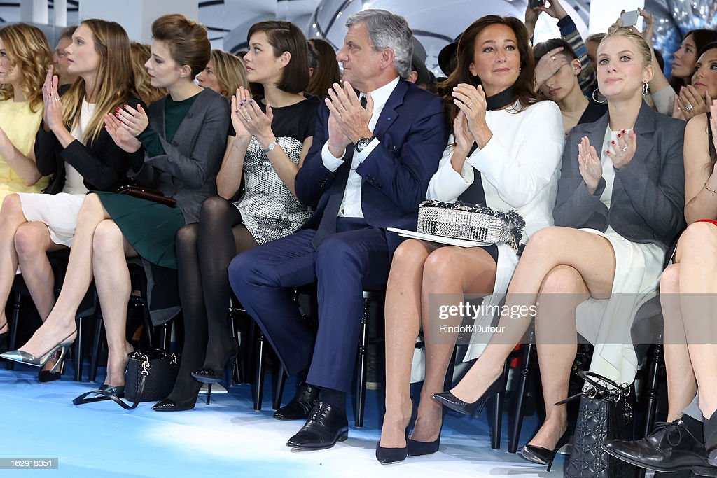 Ana Girardot, Celine Sallette, Marion Cotillard, Sidney Toledano, Christian Dior Couture President and CEO, Katia Toledano, Melanie Laurent, attend the Christian Dior Fall/Winter 2013 Ready-to-Wear show as part of Paris Fashion Week on March 1, 2013 in Paris, France.