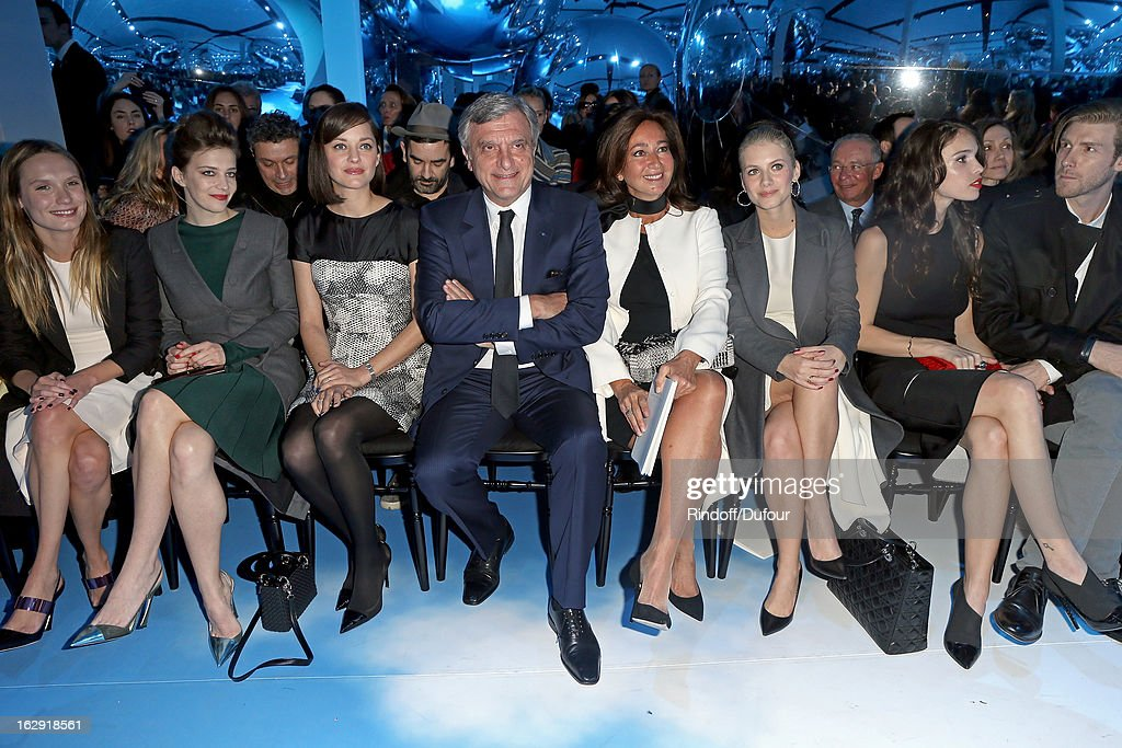 Ana Girardot, Celine Sallette, Marion Cotillard, Sidney Toledano, Christian Dior Couture President and CEO, Katia Toledano, Melanie Laurent, Chelsea Tyler and her boyfriend Joe Foster attend the Christian Dior Fall/Winter 2013 Ready-to-Wear show as part of Paris Fashion Week on March 1, 2013 in Paris, France.