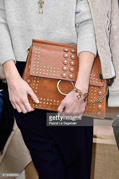 Ana Girardotbag detail attends the Chloe show as part of the Paris Fashion Week Womenswear Fall/Winter 2016/2017 on March 3 2016 in Paris France