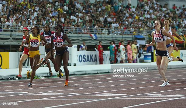 Ana Guevara of Mexico third placed Novlene Williams of Jamaica DeeDee Trotter of the United States of America first placed Christine Ohuruogu of...
