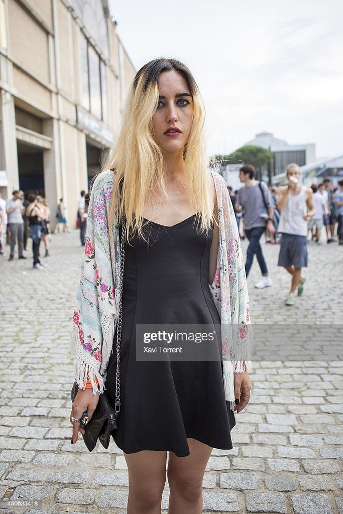 Ana is wearing a shawl from Zara, a dress from Zara,and bag from Zara at the Sonar Music Festival on June 14, 2014 in Barcelona, Spain.