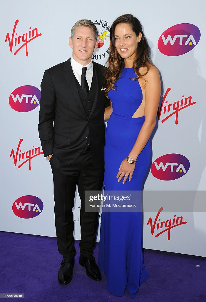 <a gi-track='captionPersonalityLinkClicked' href=/galleries/search?phrase=Ana+Ivanovic&family=editorial&specificpeople=542118 ng-click='$event.stopPropagation()'>Ana Ivanovic</a> and <a gi-track='captionPersonalityLinkClicked' href=/galleries/search?phrase=Bastian+Schweinsteiger&family=editorial&specificpeople=203122 ng-click='$event.stopPropagation()'>Bastian Schweinsteiger</a> attend the annual WTA Pre-Wimbledon Party presented by Dubai Duty Free at The Roof Gardens, Kensington on June 25, 2015 in London, England.