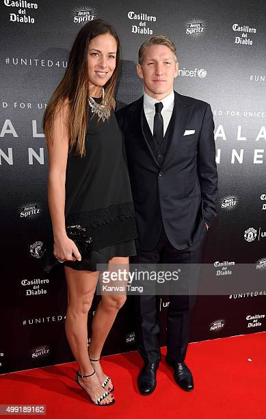 Ana Ivanovic and Bastian Schweinsteiger attend the United for UNICEF Gala Dinner at Old Trafford on November 29 2015 in Manchester England