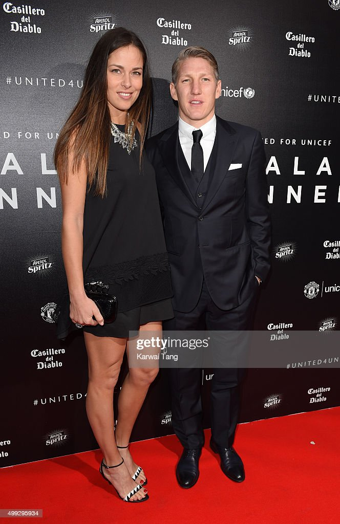 Ana Ivanovic and Bastian Schweinsteiger attend the United for UNICEF Gala Dinner at Old Trafford on November 29, 2015 in Manchester, England.