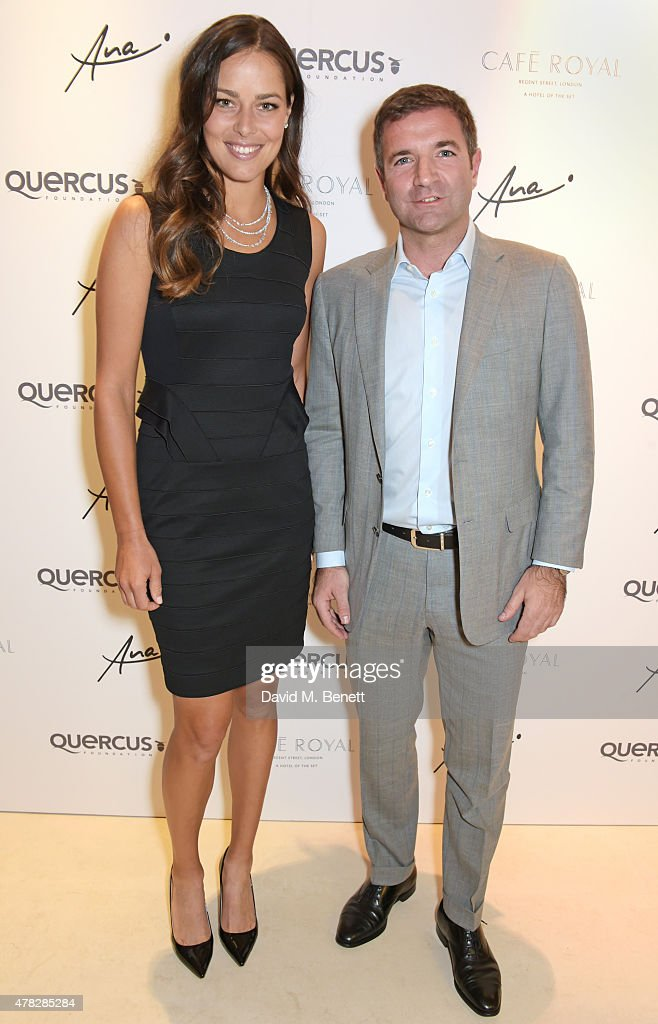 Ana Ivanovic (L) and Diego Biasi, Co-Founder & CEO of the Quercus Foundation, arrive at the Quercus Foundation Pre-Wimbledon Cocktails with Ana Ivanovic in the Ten Room at Hotel Cafe Royal on June 24, 2015 in London, England.