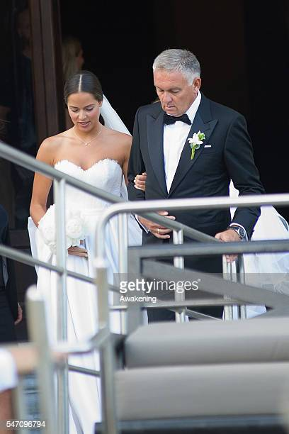 Ana Ivanovic and her father Miroslav Ivanovic leave the Aman Grand Canal Hotel to reach the church for the wedding to Bastian Schweinsteiger on July...