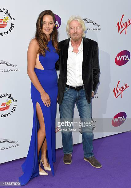 Ana Ivanovic and Richard Branson attend the WTA PreWimbledon Party at Kensington Roof Gardens on June 25 2015 in London England