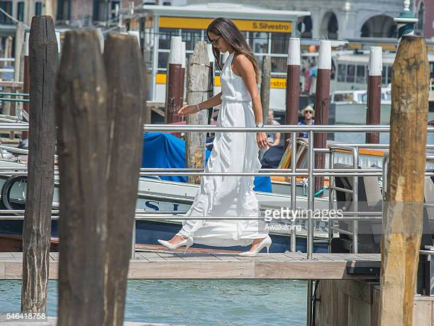 Ana Ivanovic arrives at the Aman Grand Canal hotel after her wedding with Bastian Schweinsteiger at Palazzo Cavalli on July 12 2016 in Venice Italy
