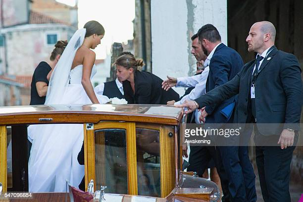 Ana Ivanovic arrives at the church for the wedding to Bastian Schweinsteiger on July 13 2016 in Venice Italy